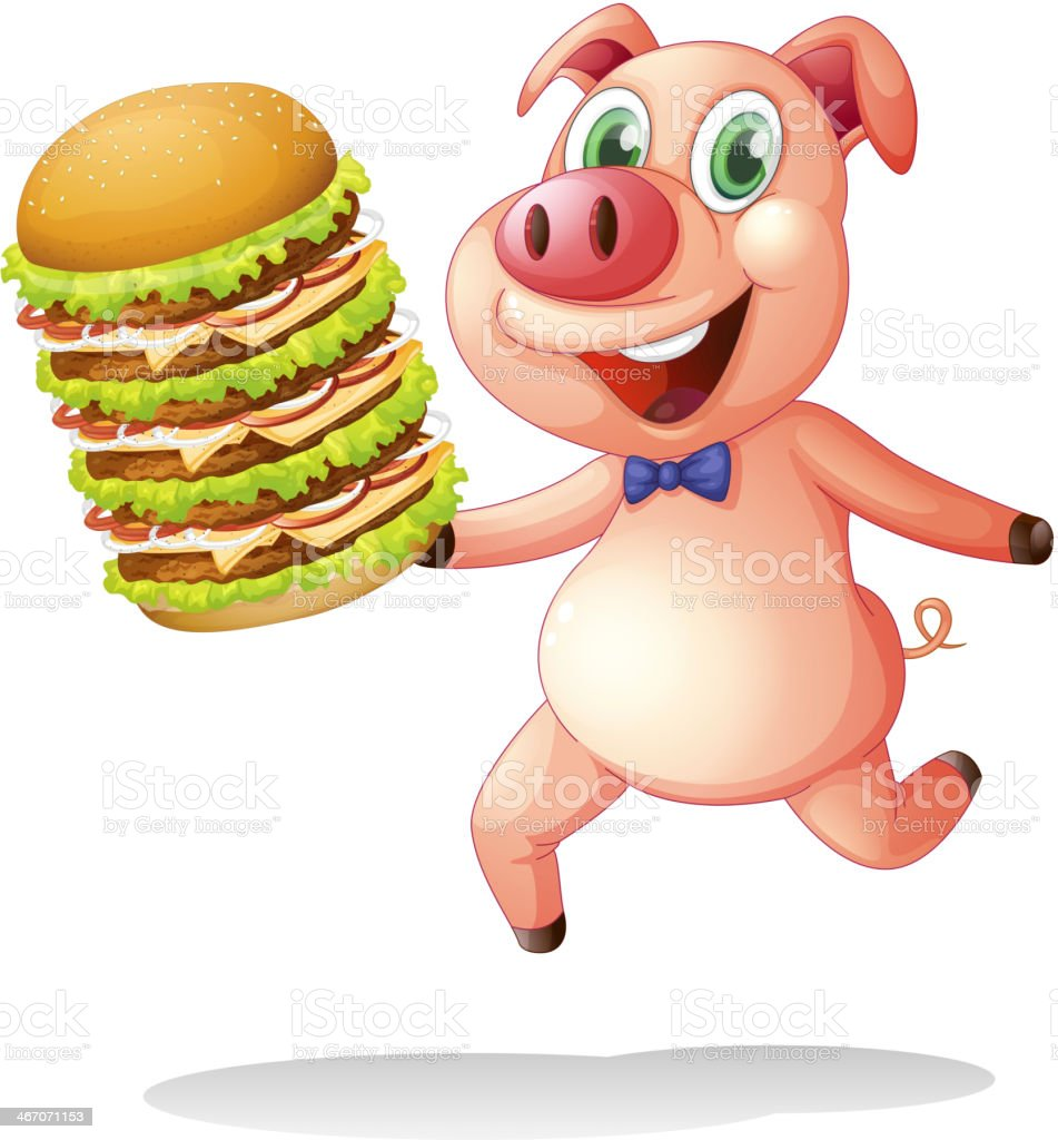 pig holding a big pile of hamburgers royalty-free stock vector art