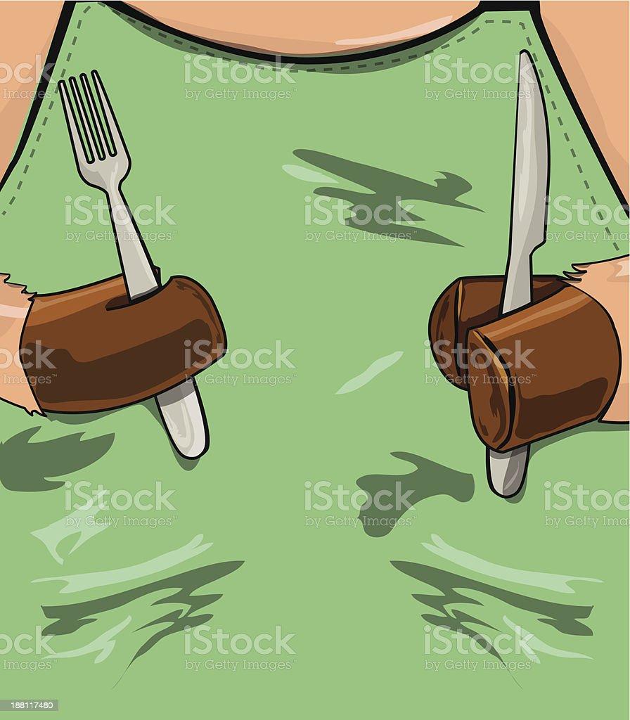pig holding fork and knife vector art illustration