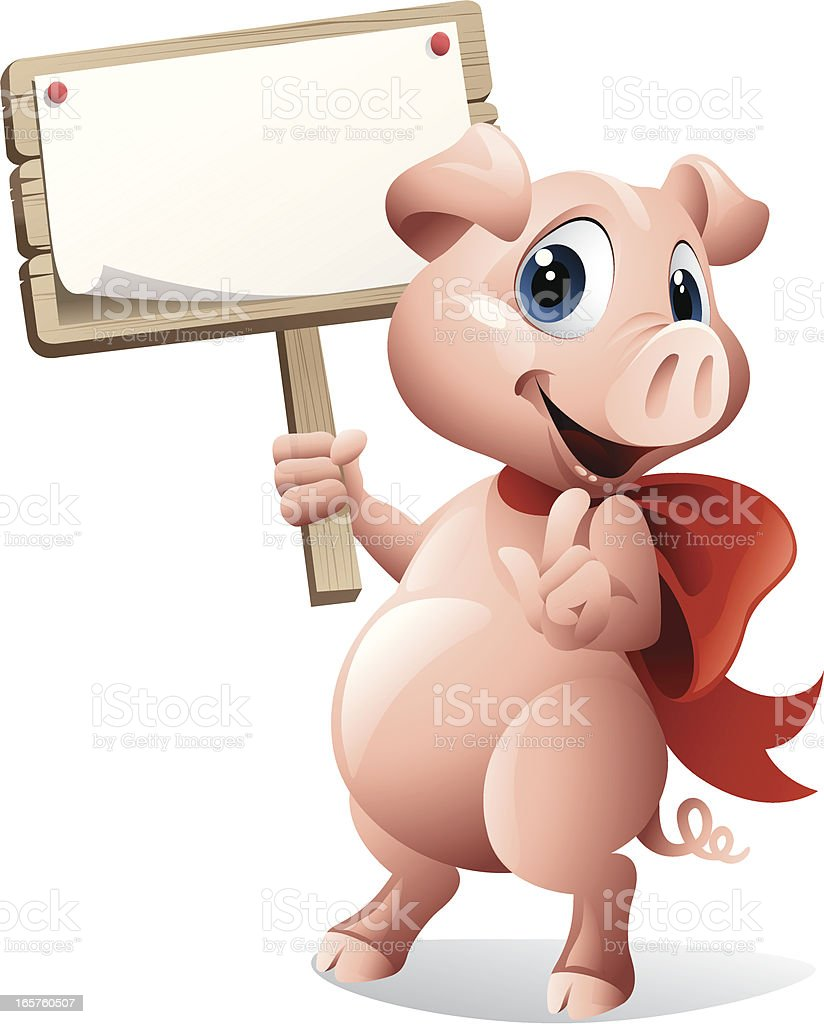 Pig holding sign royalty-free stock vector art