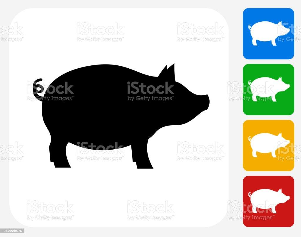 Pig Icon Flat Graphic Design vector art illustration