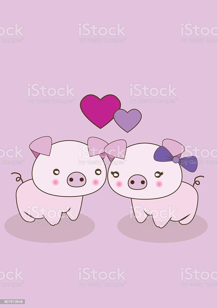 Pig Love vector art illustration