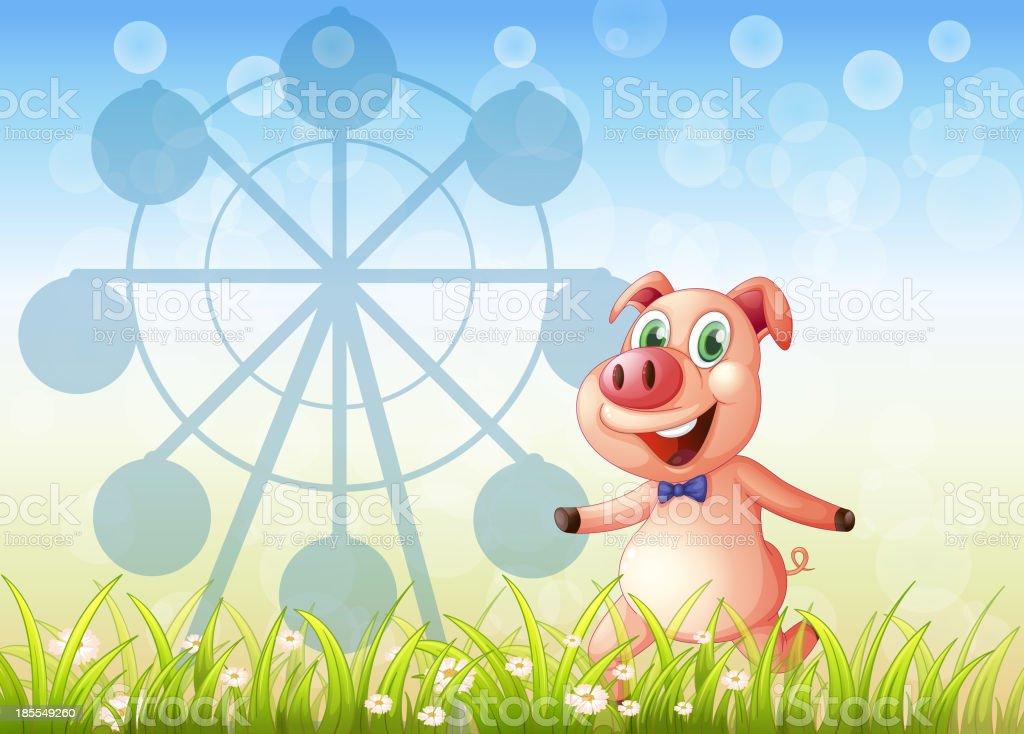 pig near the ferris wheel at hill royalty-free stock vector art