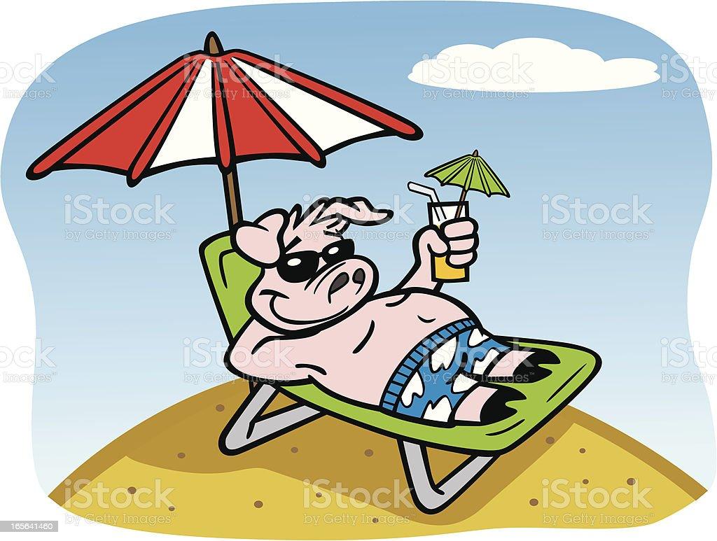 Pig On Holiday At Beach royalty-free stock vector art