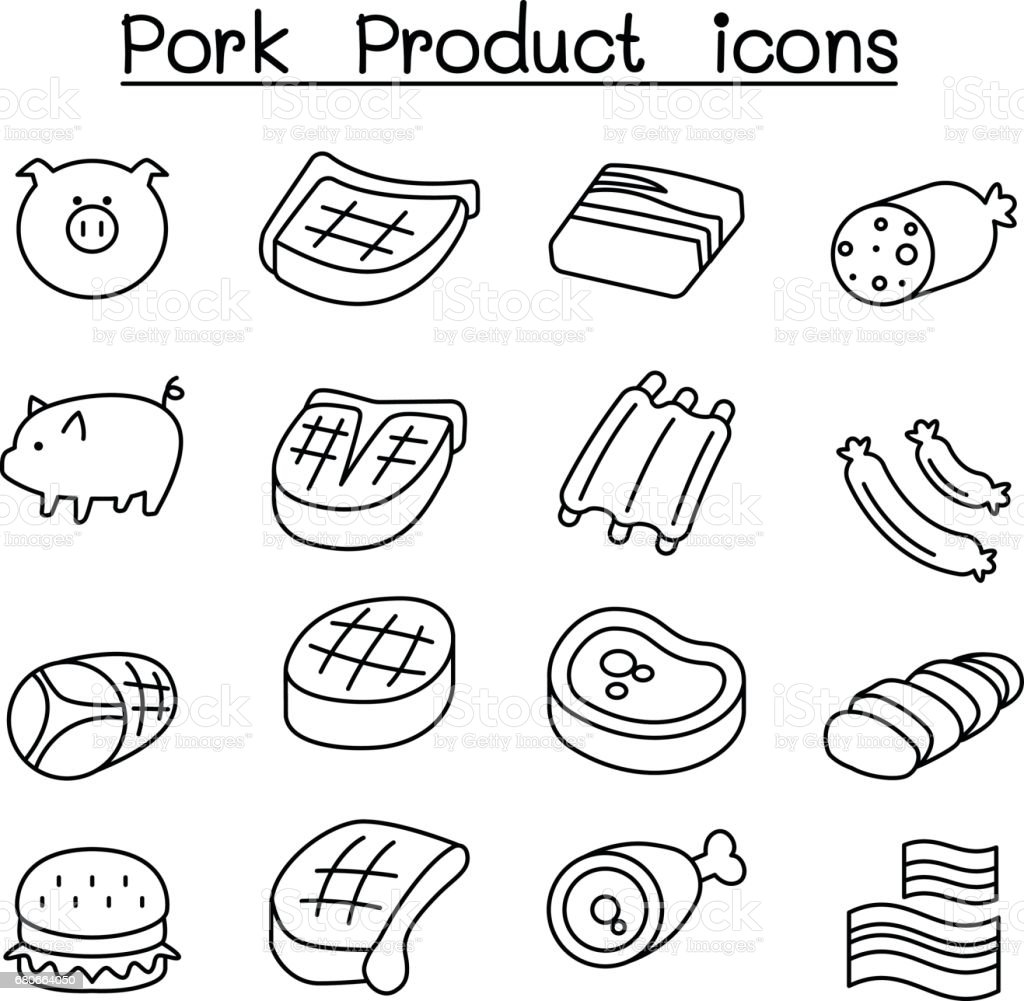 Pig & Pork Product icon set in thin line style vector art illustration