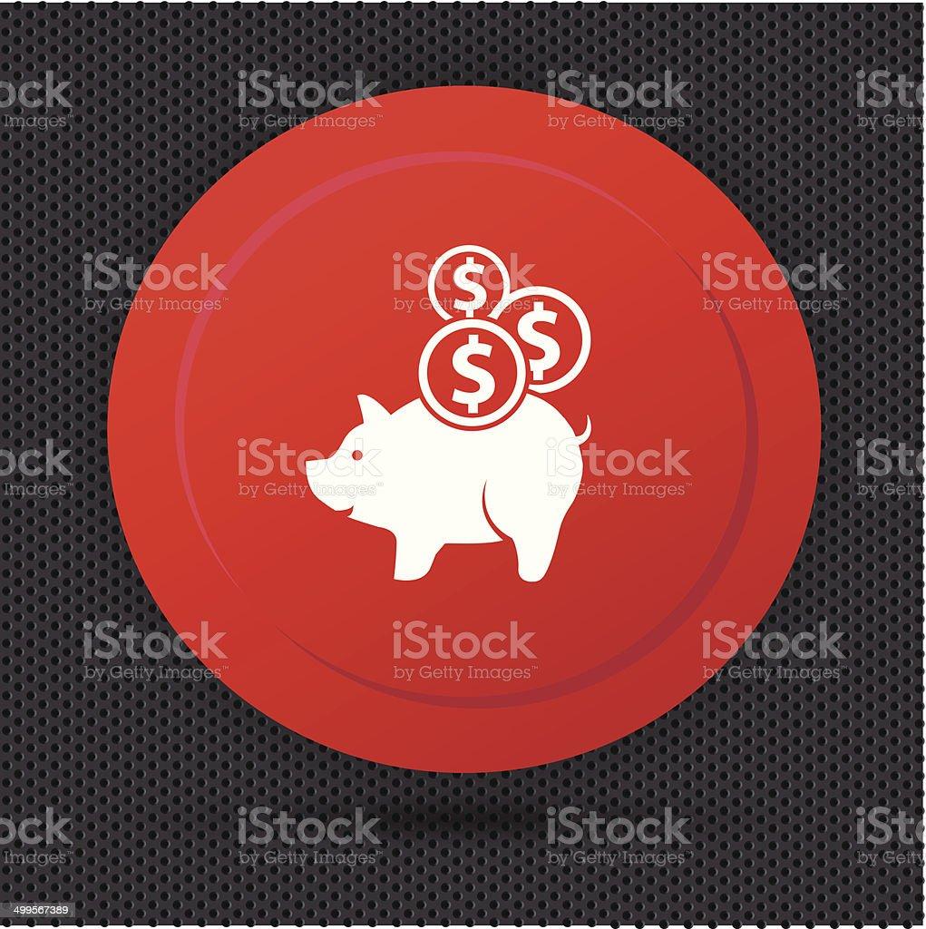 Pig saving button,vector vector art illustration