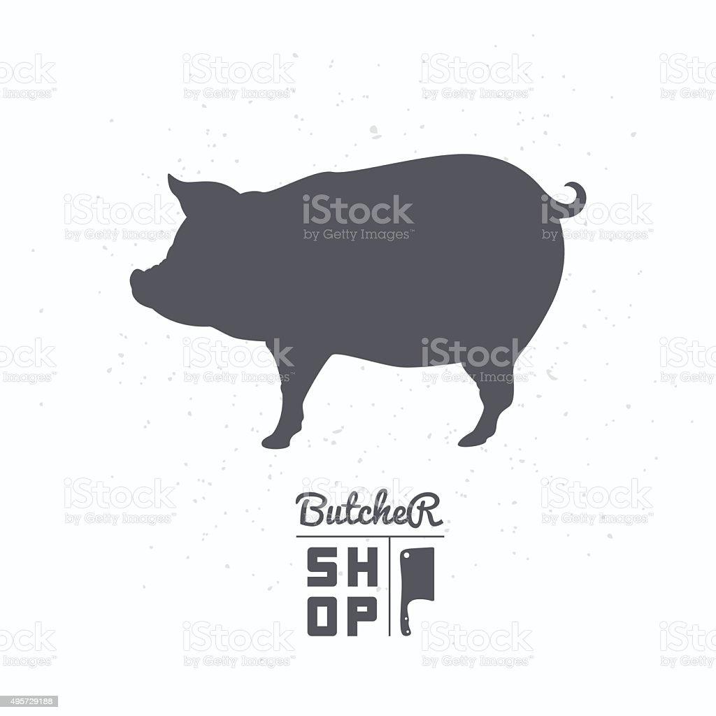 Pig silhouette. Pork meat. Butcher shop label template vector art illustration