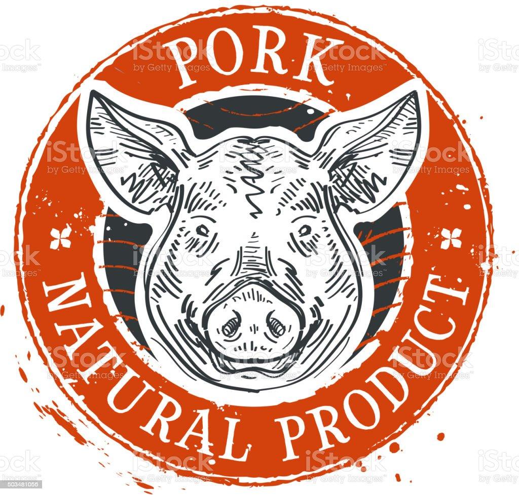 pig, swine vector logo design template. pork or farm icon vector art illustration