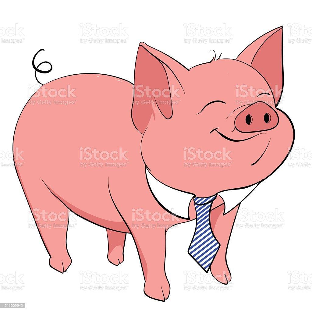 pig tie vector art illustration
