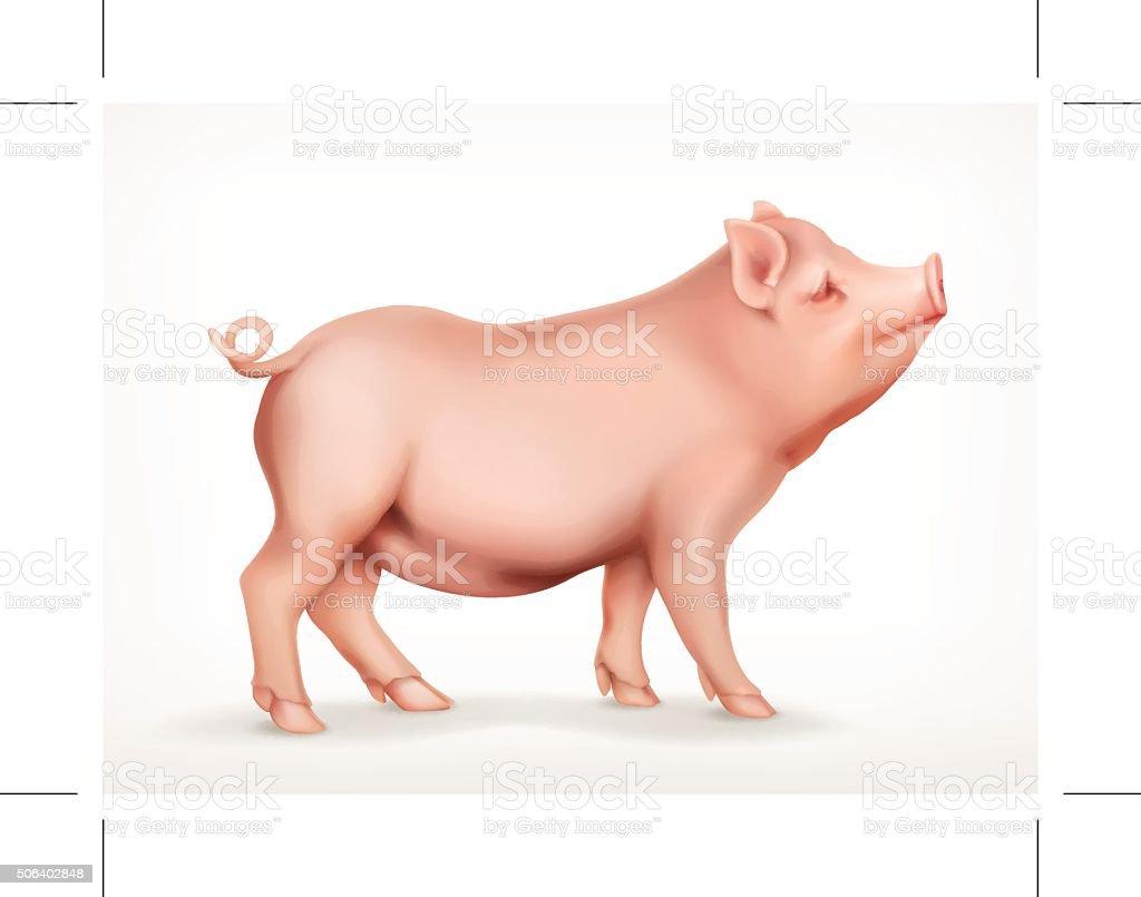 Pig, vector icon vector art illustration