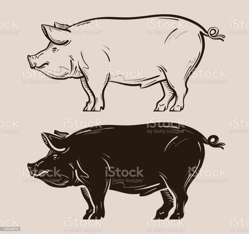 pig vector logo. farm, pork, piggy icon vector art illustration