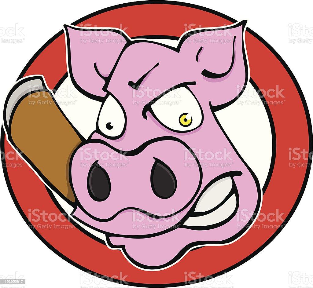 Pig with Cigar vector art illustration