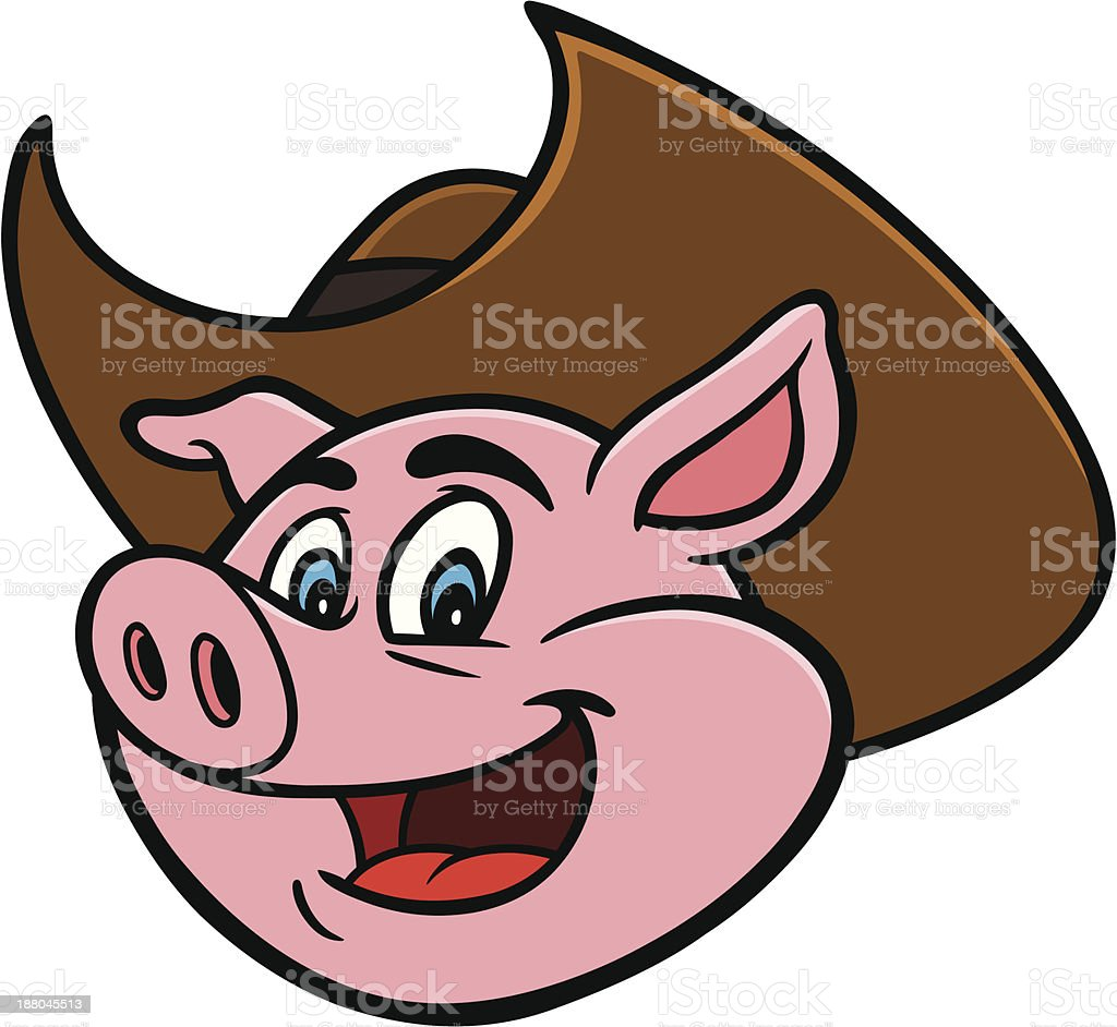 Pig with Cowboy Hat royalty-free stock vector art