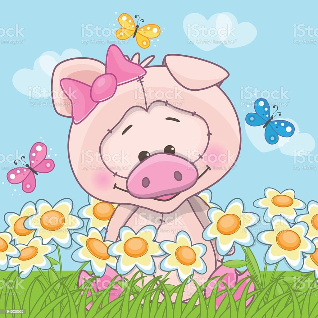 Pig with flowers vector art illustration