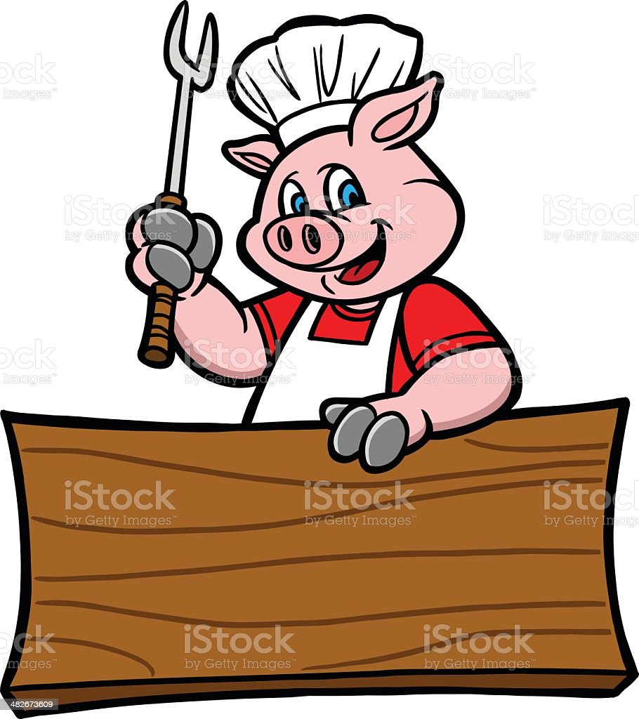 BBQ Pig With Sign royalty-free stock vector art