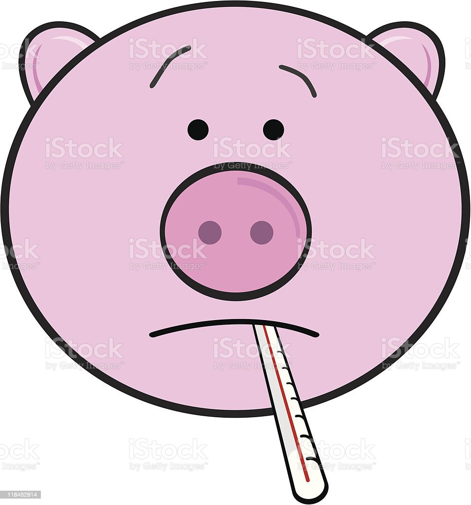 Pig with thermometer royalty-free stock vector art