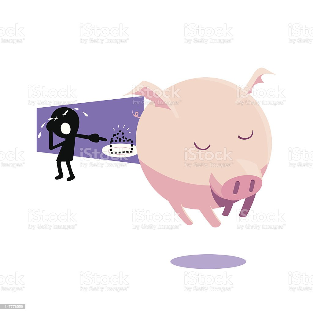 Pig with wing royalty-free stock vector art