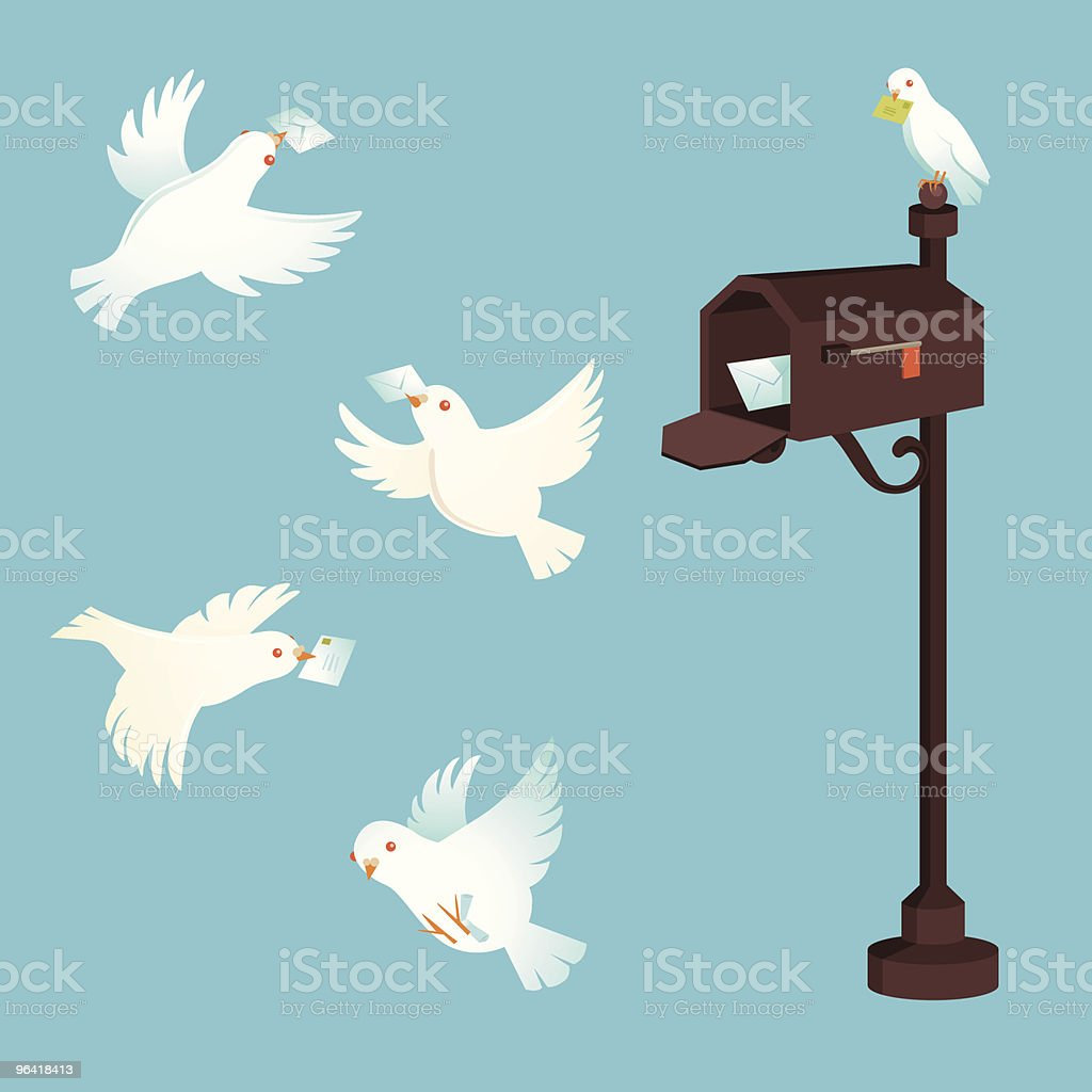 Pigeon post vector art illustration