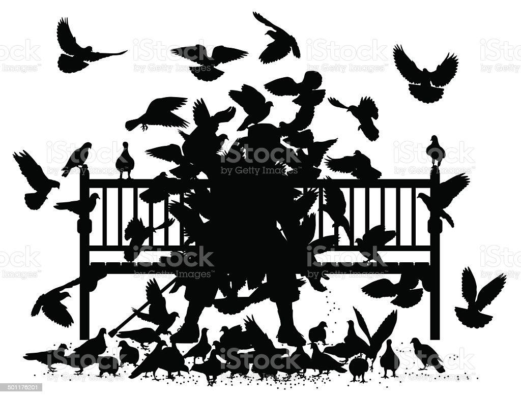 Pigeon smother vector art illustration