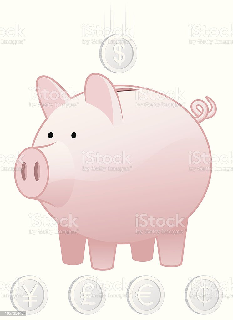 Piggy Bank and Coins royalty-free stock vector art