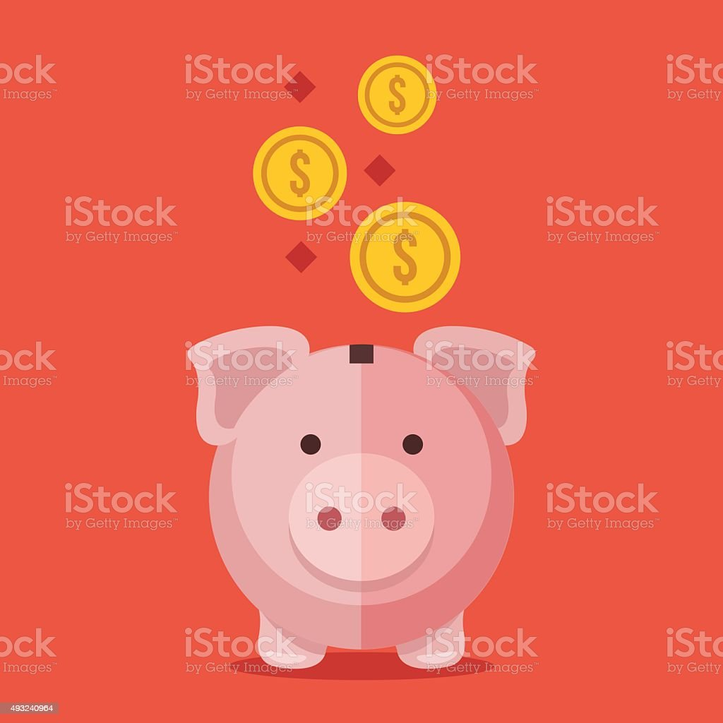 Piggy bank and gold coins. Modern flat design vector illustration vector art illustration