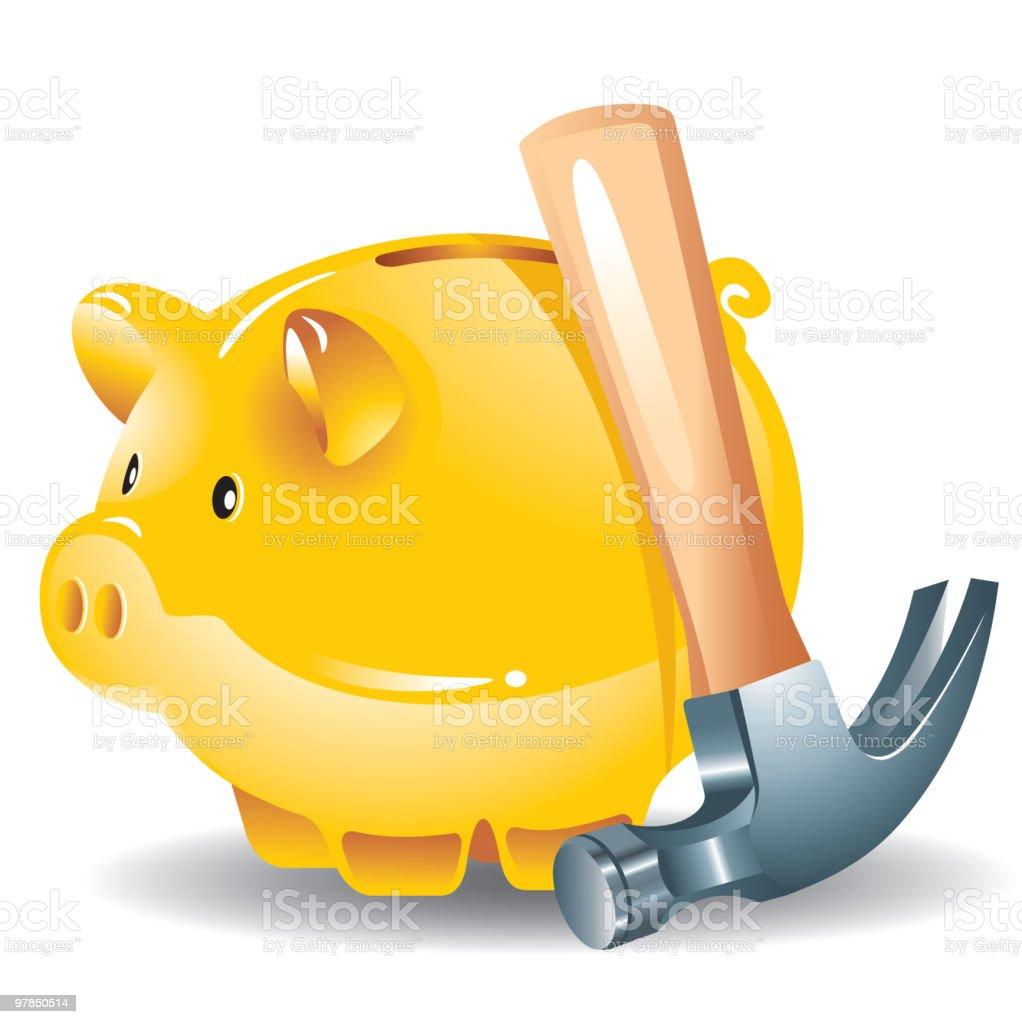 piggy bank and hammer royalty-free stock vector art