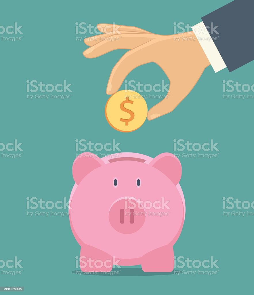 Piggy bank and hand with coin icon vector art illustration