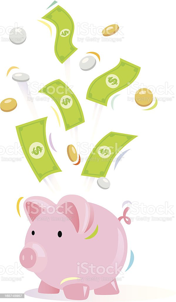 Piggy Bank and Money royalty-free stock vector art