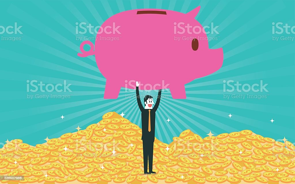 Piggy bank and pile of gold coins vector art illustration
