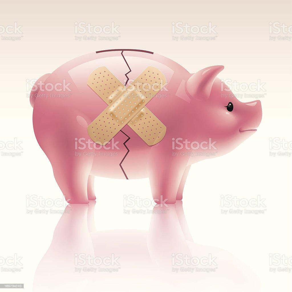 Piggy Bank - Band Aid royalty-free stock vector art