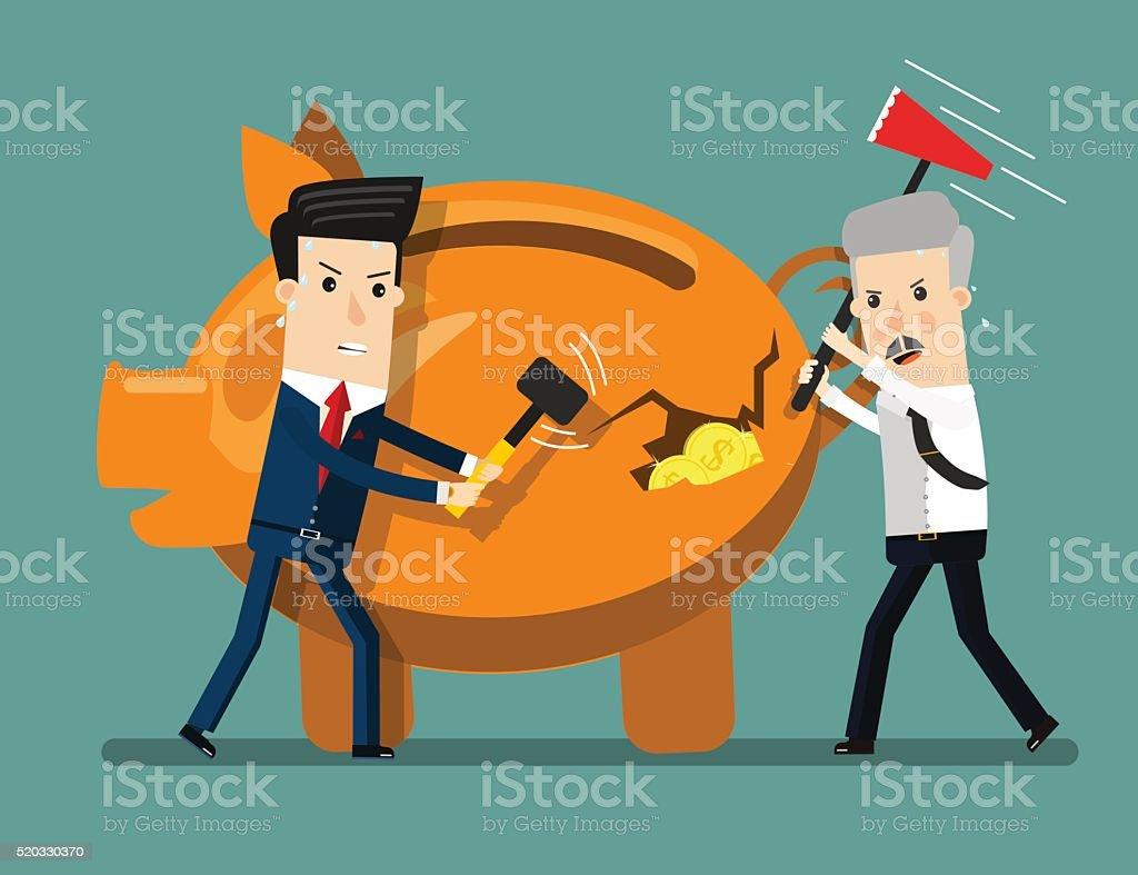 Piggy Bank Breaking By Hammer. Business concept cartoon illustration vector art illustration