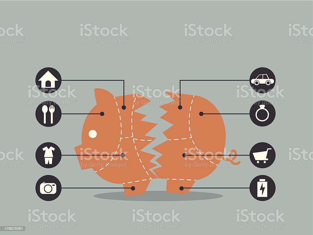 Piggy Bank concept for financial vector art illustration