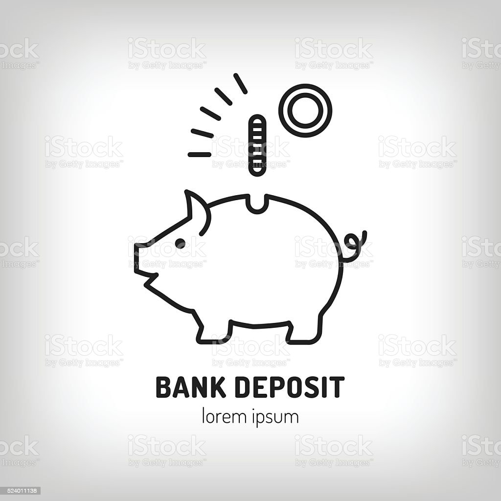 piggy bank deposit vector logo line icon art flat design stock