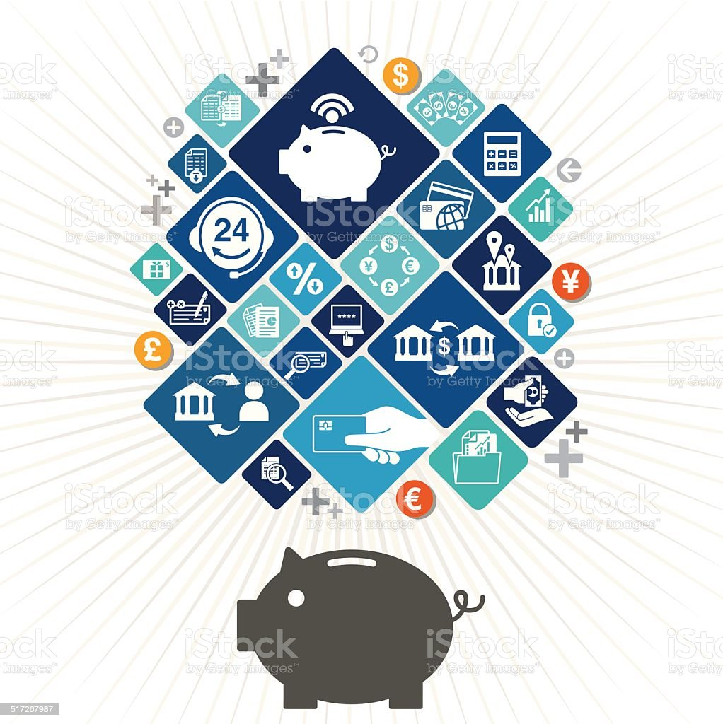 Piggy Bank Design vector art illustration