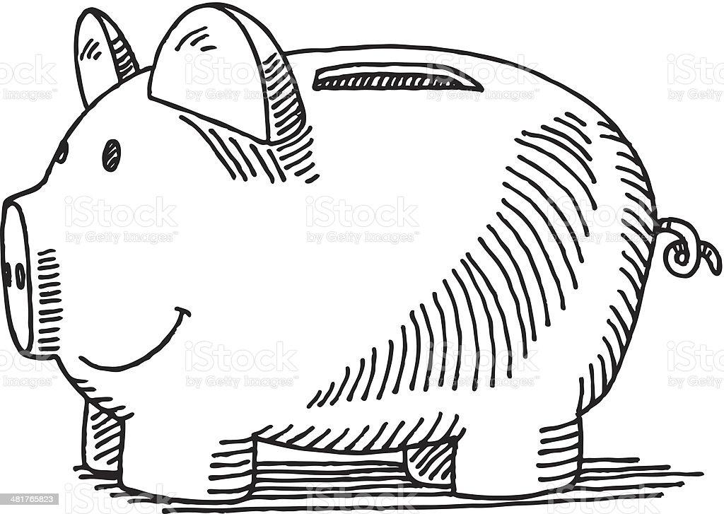 Piggy Bank Drawing vector art illustration