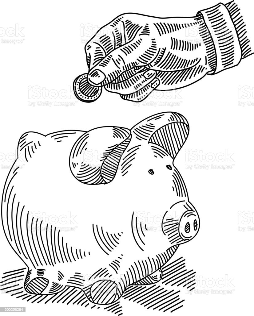 Piggy bank drawing vector art illustration