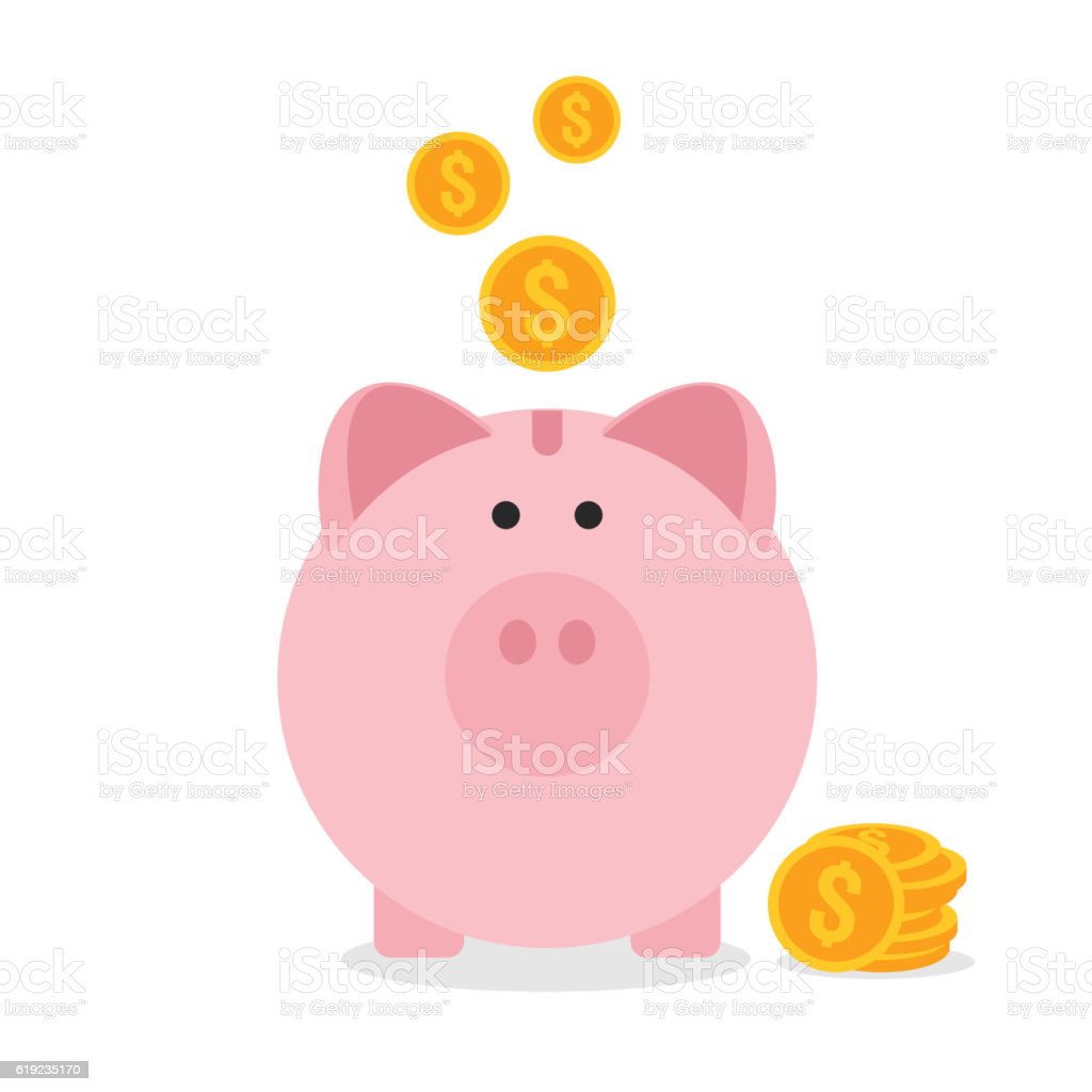 Piggy bank flat design, saving money concept vector art illustration