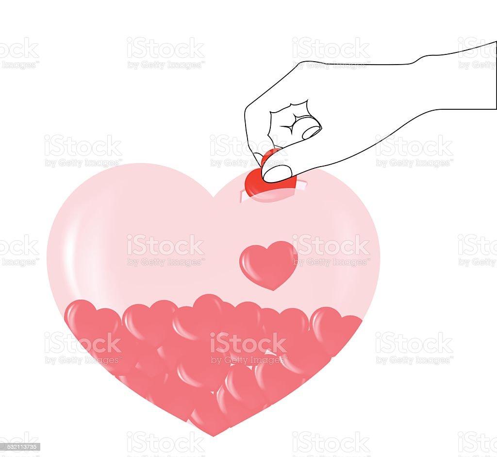 piggy bank heart vector art illustration