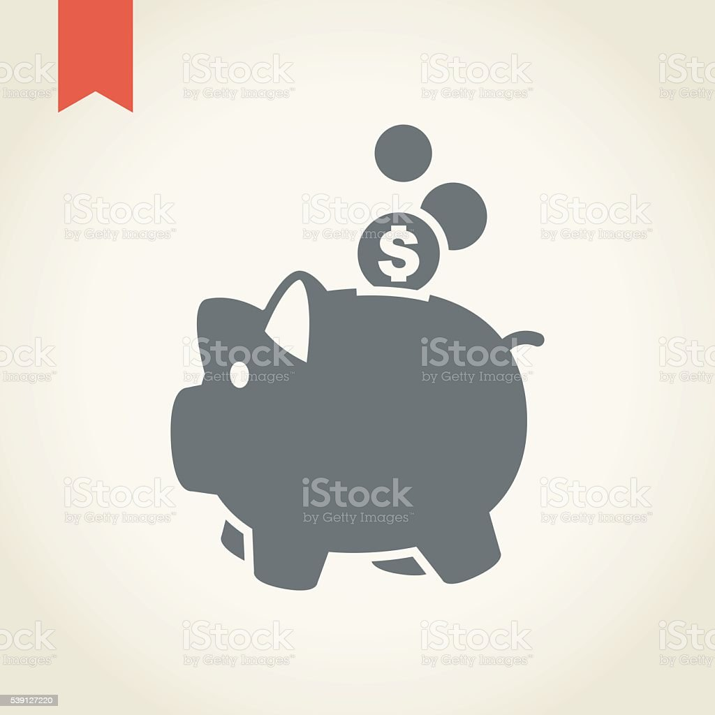 Piggy Bank icon vector art illustration