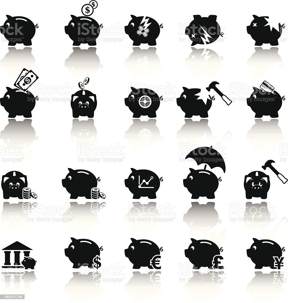 Piggy bank icons, banking and saving vector art illustration