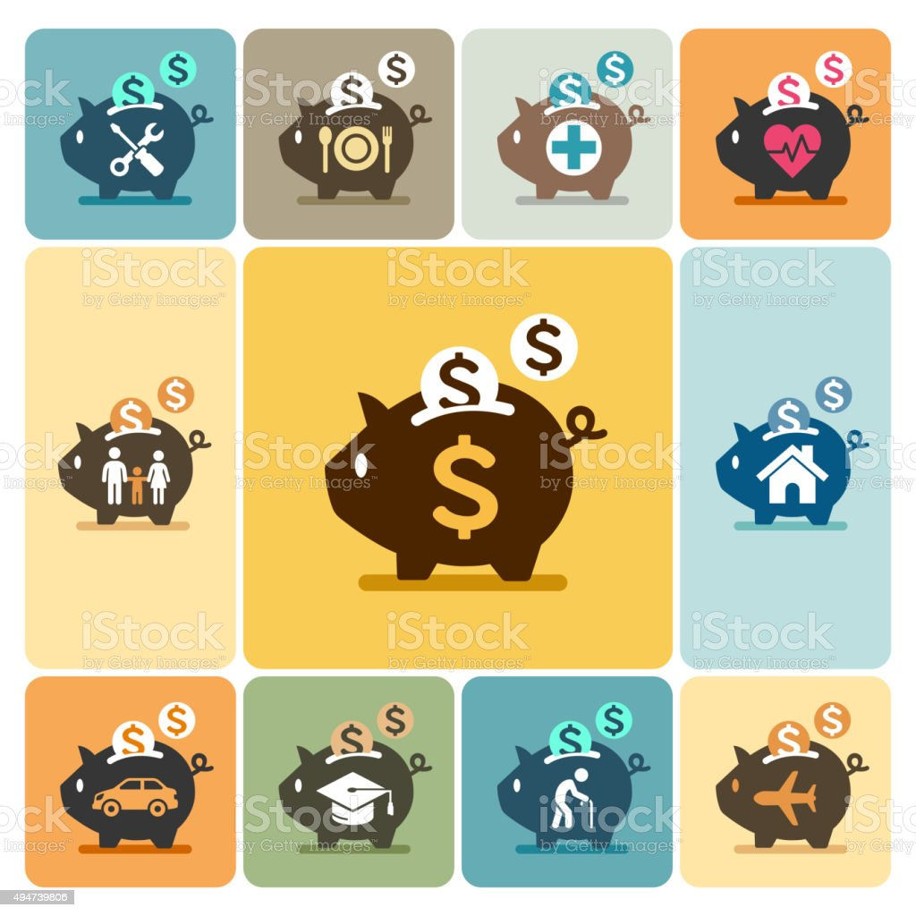 Piggy bank icons. vector art illustration