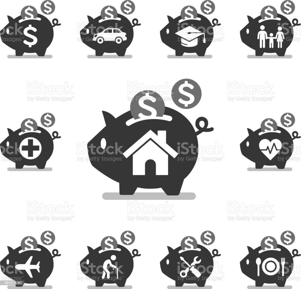 Piggy bank icons. vector art illustration