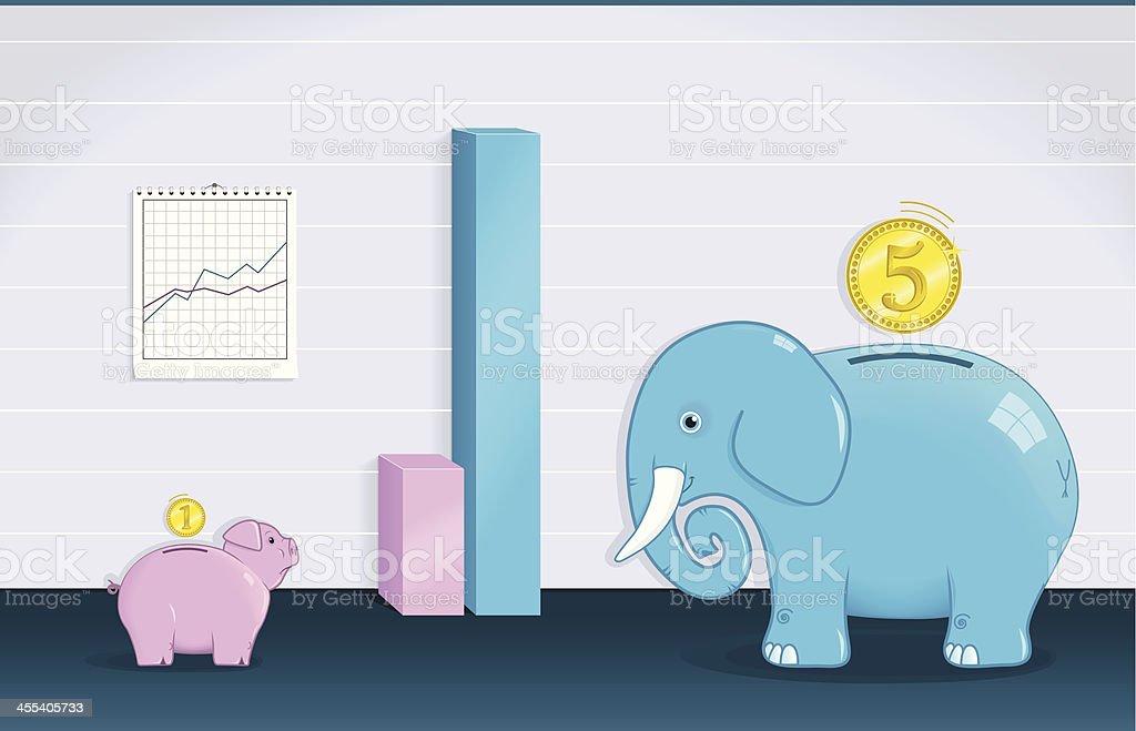 Piggy Bank Meets an Elephant royalty-free stock vector art