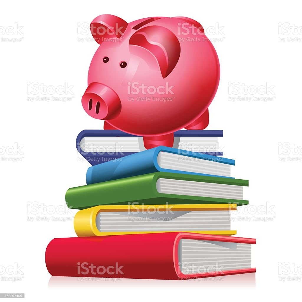 Piggy bank on books - college fund concept royalty-free stock vector art