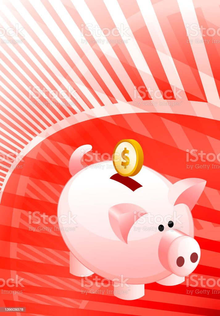 piggy bank on modern red Background royalty-free stock vector art