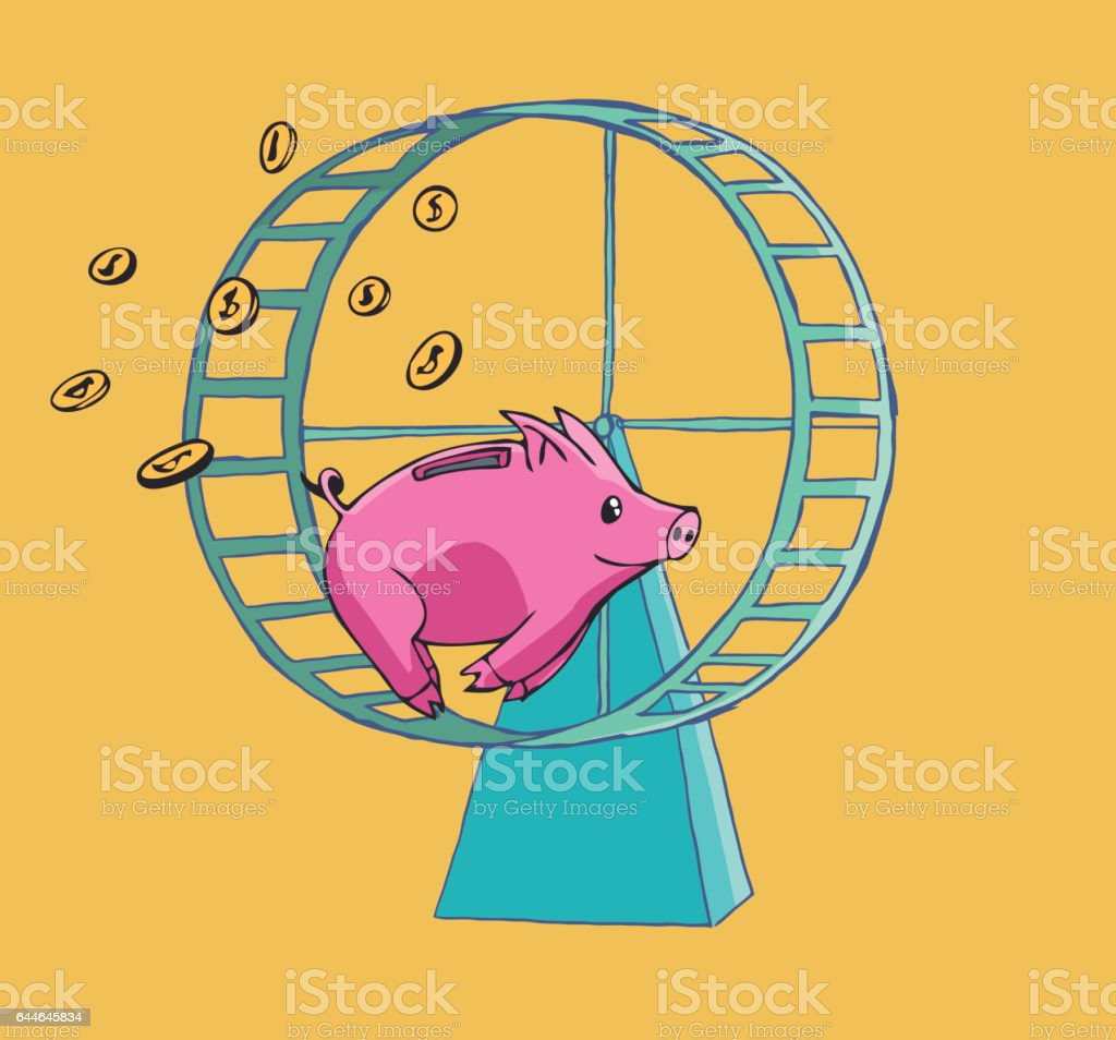 Piggy bank running on a Hamster wheel vector art illustration