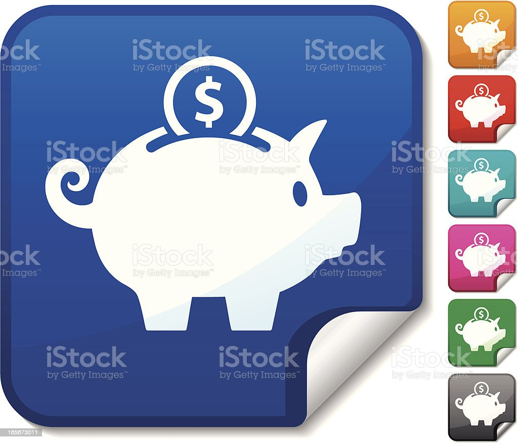 Piggy Bank Sticker vector art illustration