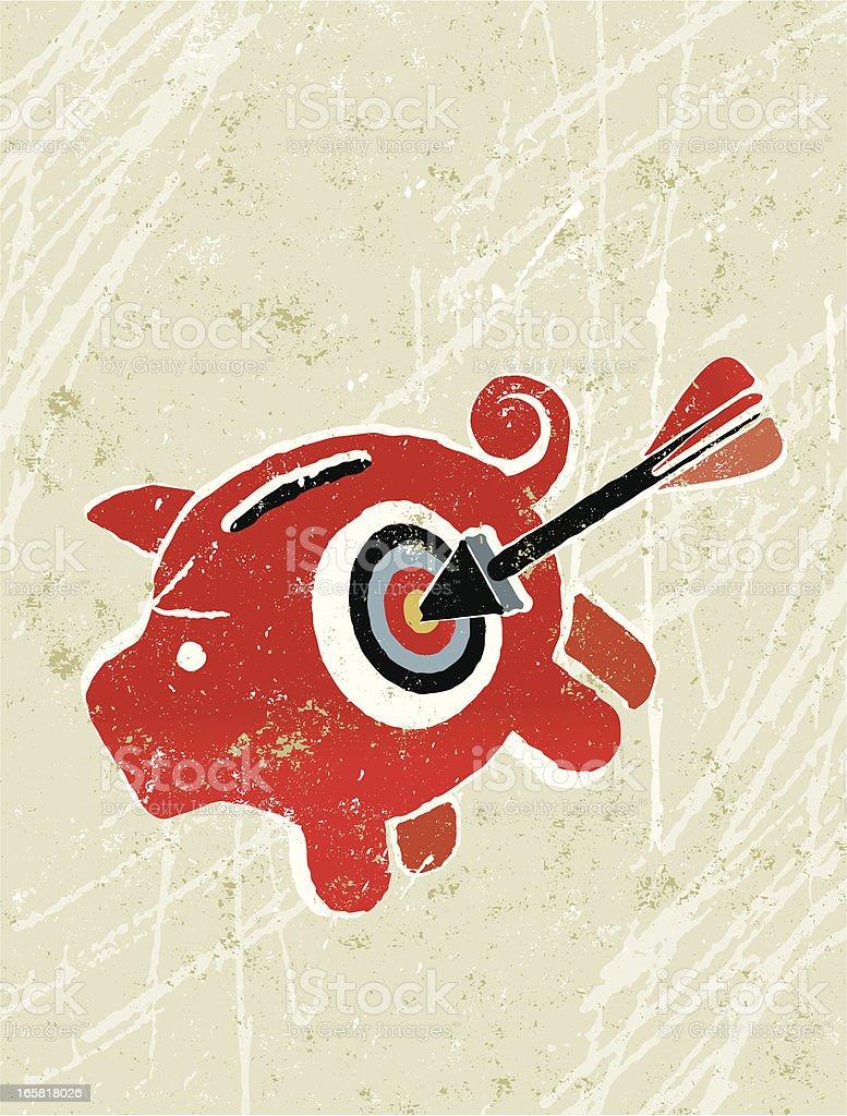 Piggy bank, Target and Arrow royalty-free stock vector art