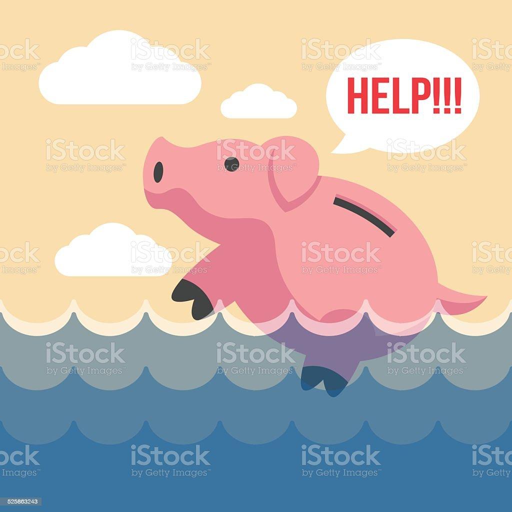 Piggy bank. Vector flat illustration vector art illustration