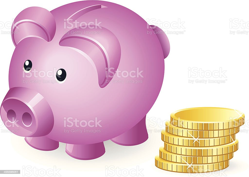 Piggy bank with Coin royalty-free stock vector art