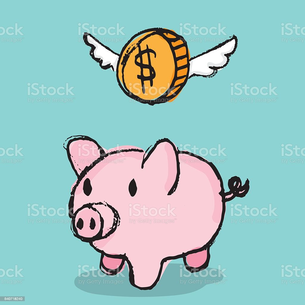Piggy Bank with Coin vector art illustration